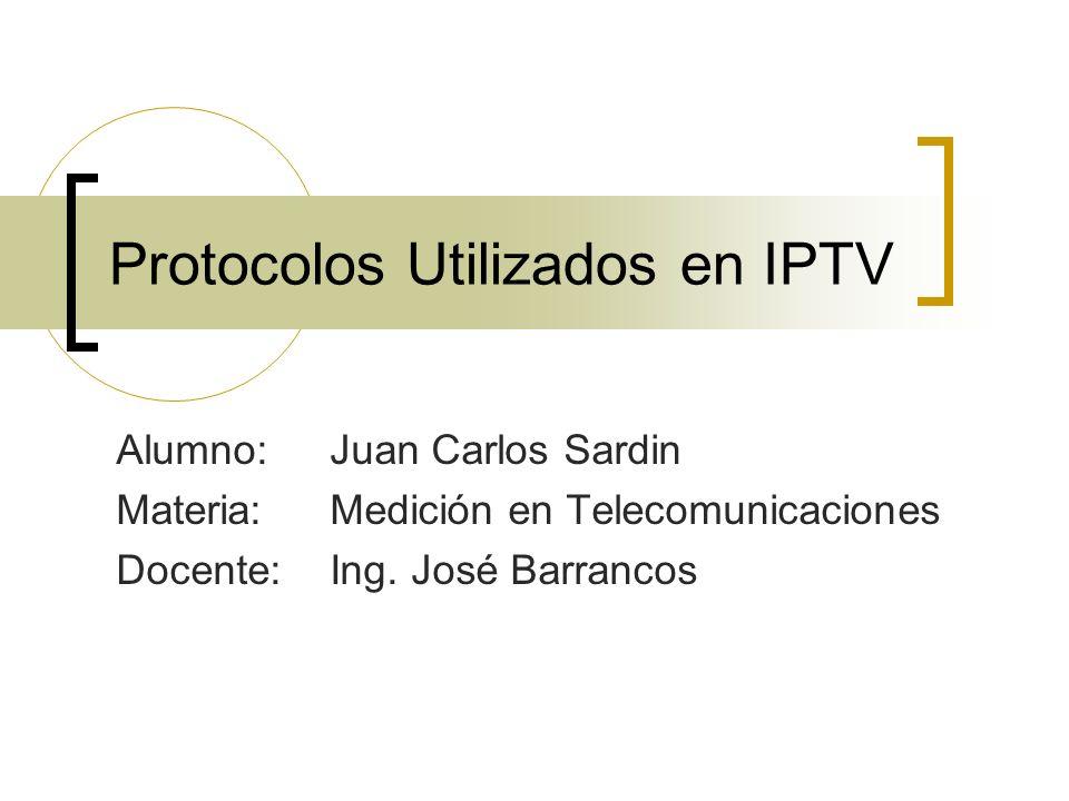 Protocolos Utilizados en IPTV IGMPv1 Tipos de mensajes en IGMPv1 TipoEmitido porFunciónDirección de destino Consulta de miembros (Membership Query) Routers Preguntar a los hosts si están interesados en algún grupo multicast 224.0.0.1 Informe de Pertenencia (Membership Report) Hosts Informar a los routers que el host está interesado en un determinado grupo multicast La del grupo en cuestión