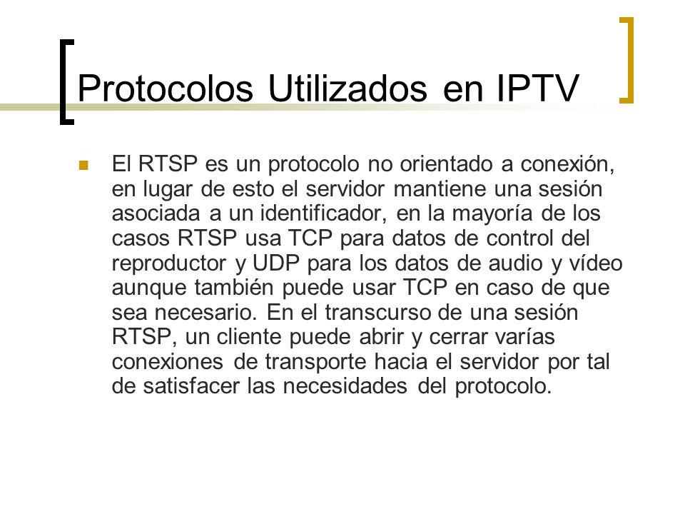 Protocolos Utilizados en IPTV El RTSP es un protocolo no orientado a conexión, en lugar de esto el servidor mantiene una sesión asociada a un identifi