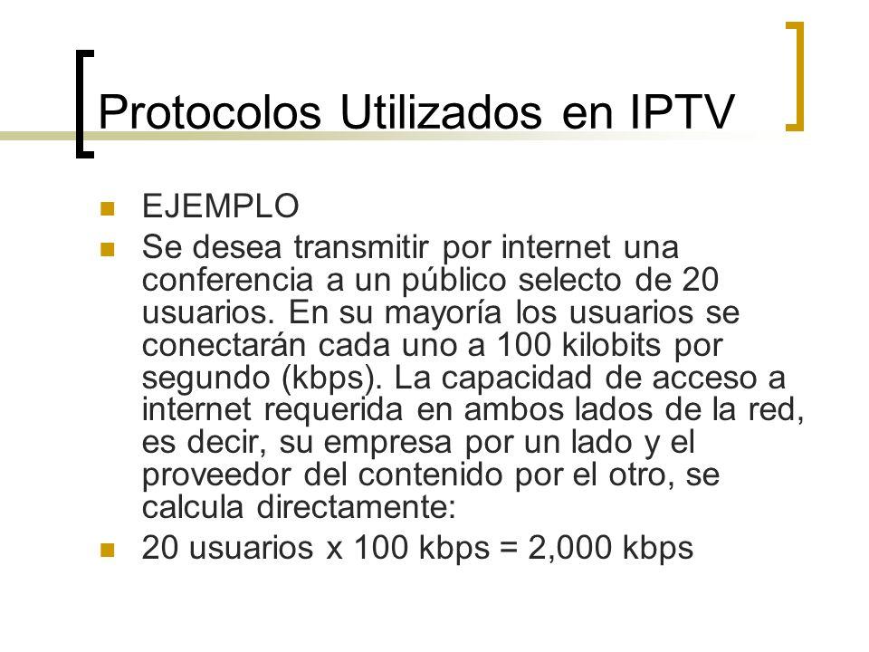 Protocolos Utilizados en IPTV EJEMPLO Se desea transmitir por internet una conferencia a un público selecto de 20 usuarios. En su mayoría los usuarios