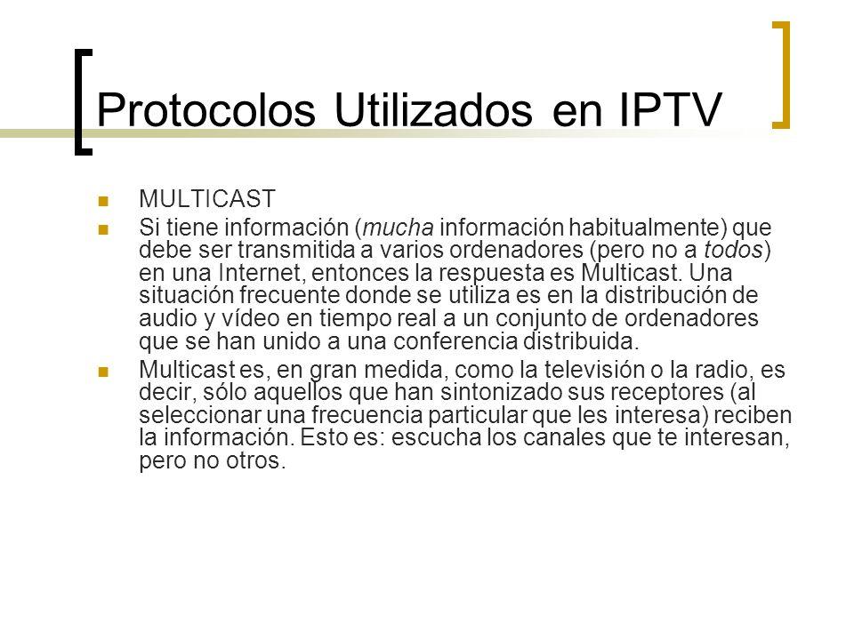 Protocolos Utilizados en IPTV MULTICAST Si tiene información (mucha información habitualmente) que debe ser transmitida a varios ordenadores (pero no