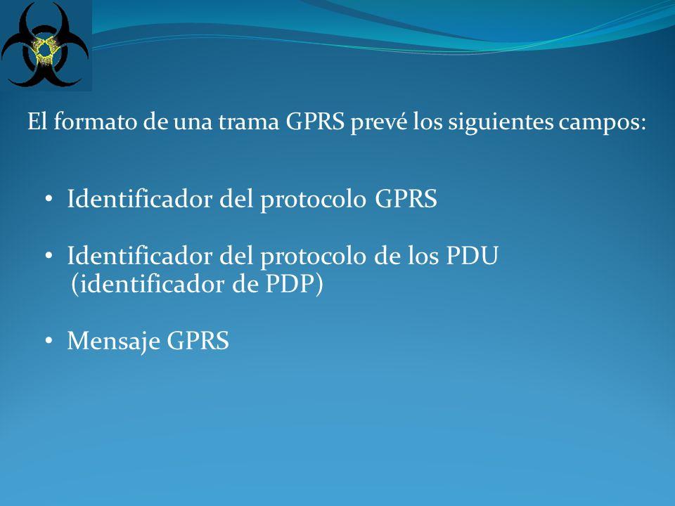 El formato de una trama GPRS prevé los siguientes campos: Identificador del protocolo GPRS Identificador del protocolo de los PDU (identificador de PDP) Mensaje GPRS