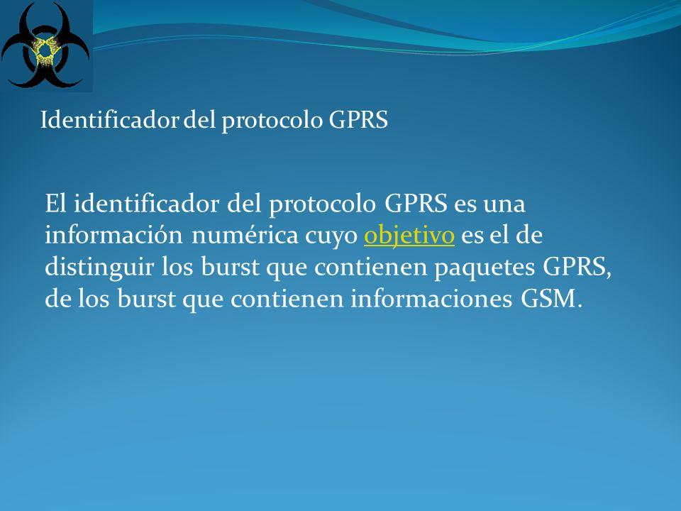 Identificador del protocolo de los PDU (identificador de PDP) El identificador del protocolo de los PDU encapsulados en las tramas GPRS es necesario para direccionar éstos en cuanto son desencapsulados, hacia el correcto SAP (Service Access Point); también esta información es de tipo numérico.