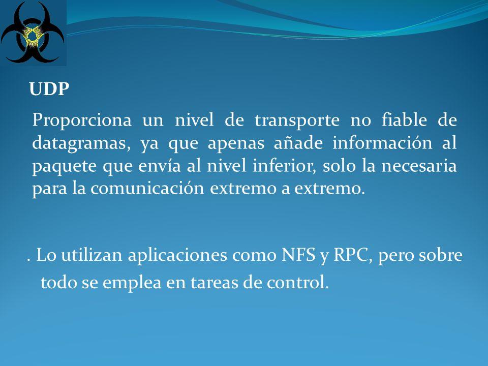 TCP (Transport Control Protocolo): Es el protocolo que proporciona un transporte fiable de flujo de bits entre aplicaciones.
