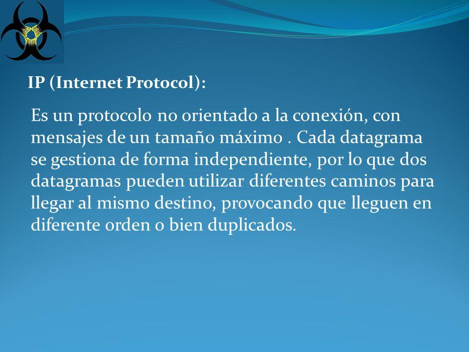 IP (Internet Protocol): Es un protocolo no orientado a la conexión, con mensajes de un tamaño máximo.