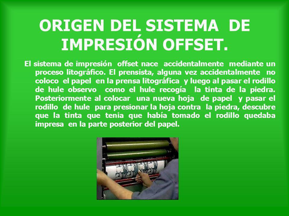 El sistema de impresión offset nace accidentalmente mediante un proceso litográfico. El prensista, alguna vez accidentalmente no coloco el papel en la