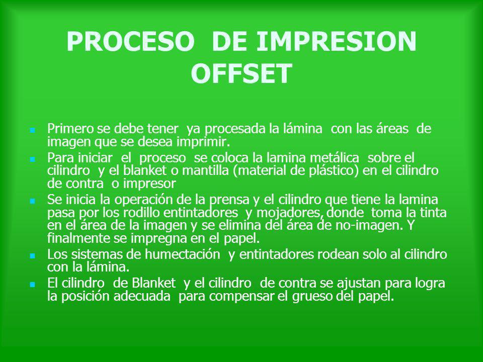 PROCESO DE IMPRESION OFFSET Primero se debe tener ya procesada la lámina con las áreas de imagen que se desea imprimir. Para iniciar el proceso se col