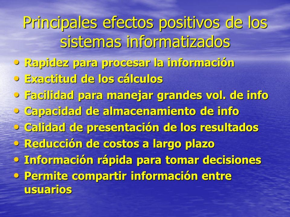 Principales efectos positivos de los sistemas informatizados Rapidez para procesar la información Rapidez para procesar la información Exactitud de lo