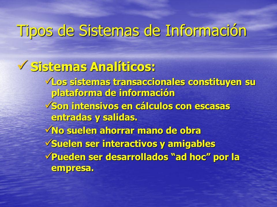 Tipos de Sistemas de Información Sistemas Analíticos: Sistemas Analíticos: Los sistemas transaccionales constituyen su plataforma de información Los s