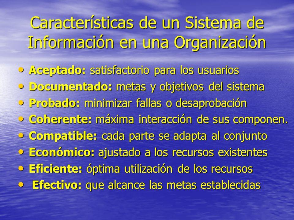 Características de un Sistema de Información en una Organización Aceptado: satisfactorio para los usuarios Aceptado: satisfactorio para los usuarios D