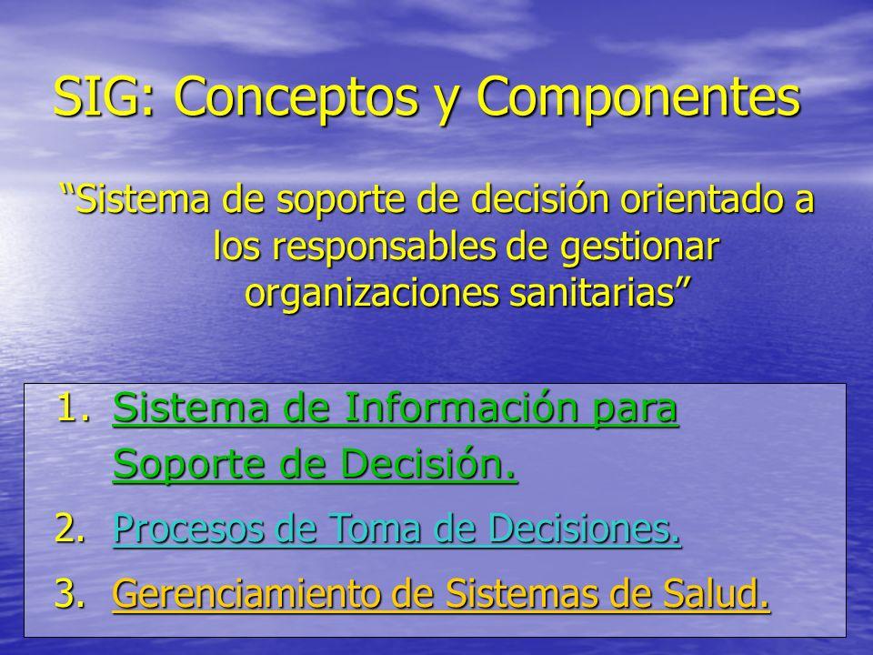SIG: Conceptos y Componentes Sistema de soporte de decisión orientado a los responsables de gestionar organizaciones sanitarias 1.Sistema de Informaci