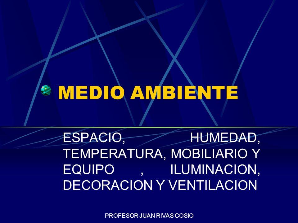 PROFESOR JUAN RIVAS COSIO MEDIO AMBIENTE ESPACIO, HUMEDAD, TEMPERATURA, MOBILIARIO Y EQUIPO, ILUMINACION, DECORACION Y VENTILACION