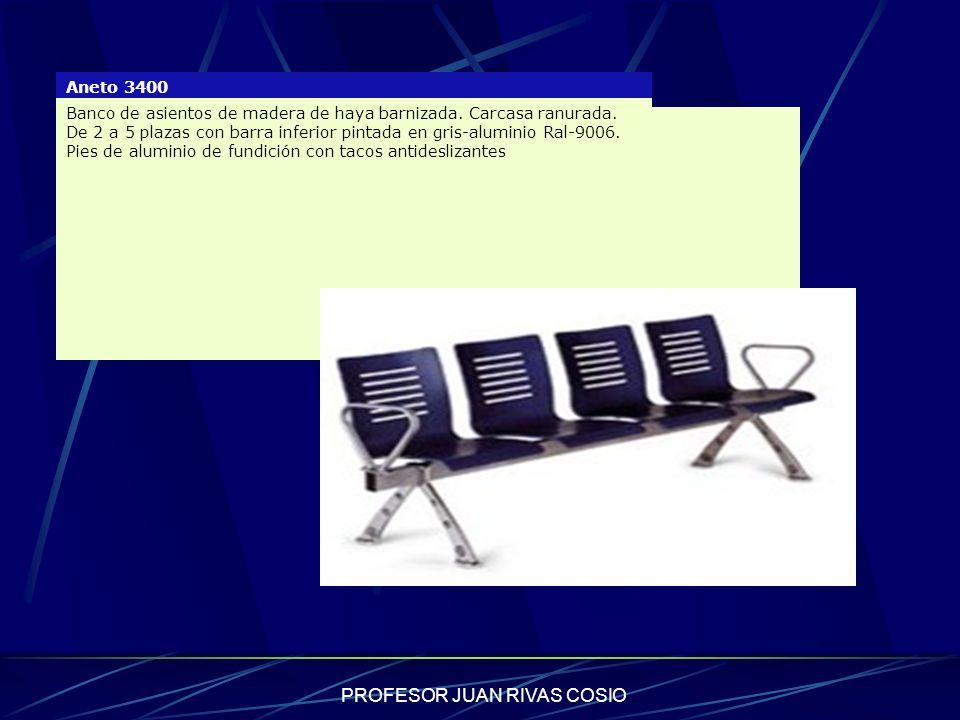 PROFESOR JUAN RIVAS COSIO Aneto 3400 Banco de asientos de madera de haya barnizada. Carcasa ranurada. De 2 a 5 plazas con barra inferior pintada en gr