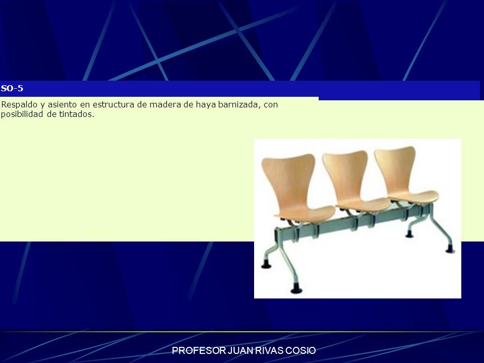 PROFESOR JUAN RIVAS COSIO SO-5 Respaldo y asiento en estructura de madera de haya barnizada, con posibilidad de tintados.