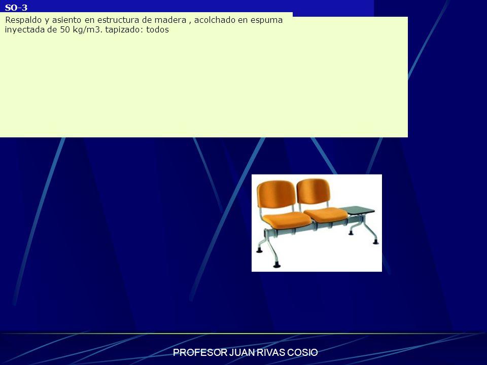 PROFESOR JUAN RIVAS COSIO SO-3 Respaldo y asiento en estructura de madera, acolchado en espuma inyectada de 50 kg/m3. tapizado: todos