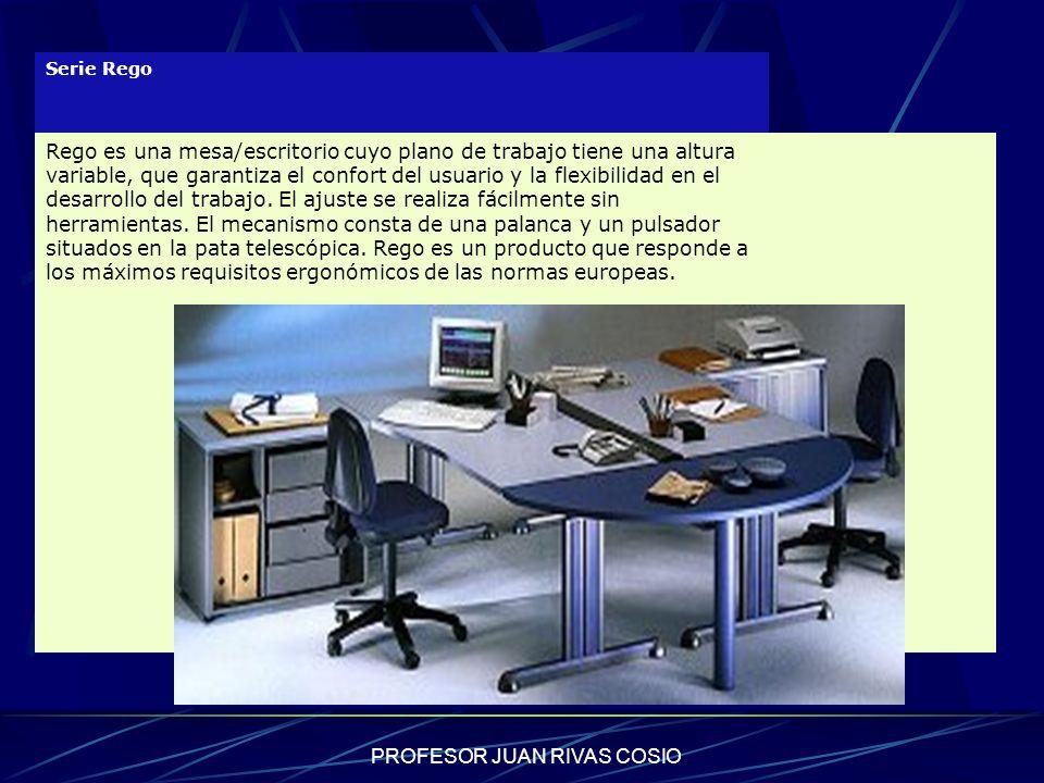 PROFESOR JUAN RIVAS COSIO Serie Rego Rego es una mesa/escritorio cuyo plano de trabajo tiene una altura variable, que garantiza el confort del usuario