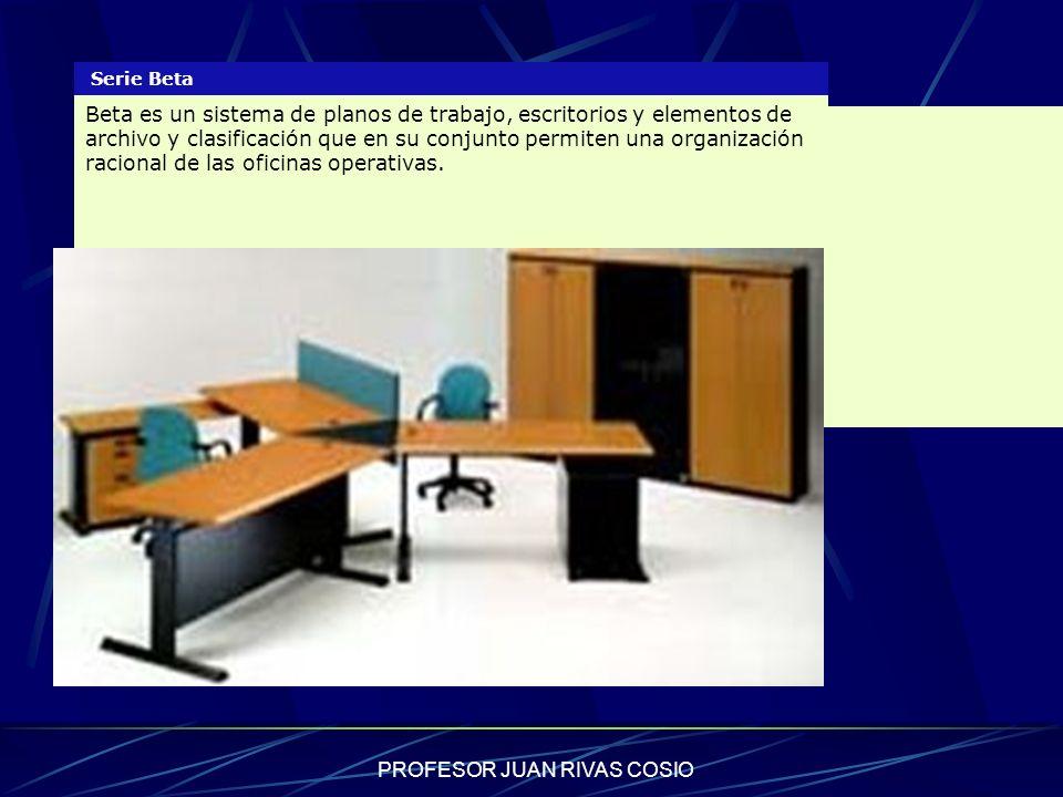 PROFESOR JUAN RIVAS COSIO Serie Beta Beta es un sistema de planos de trabajo, escritorios y elementos de archivo y clasificación que en su conjunto pe