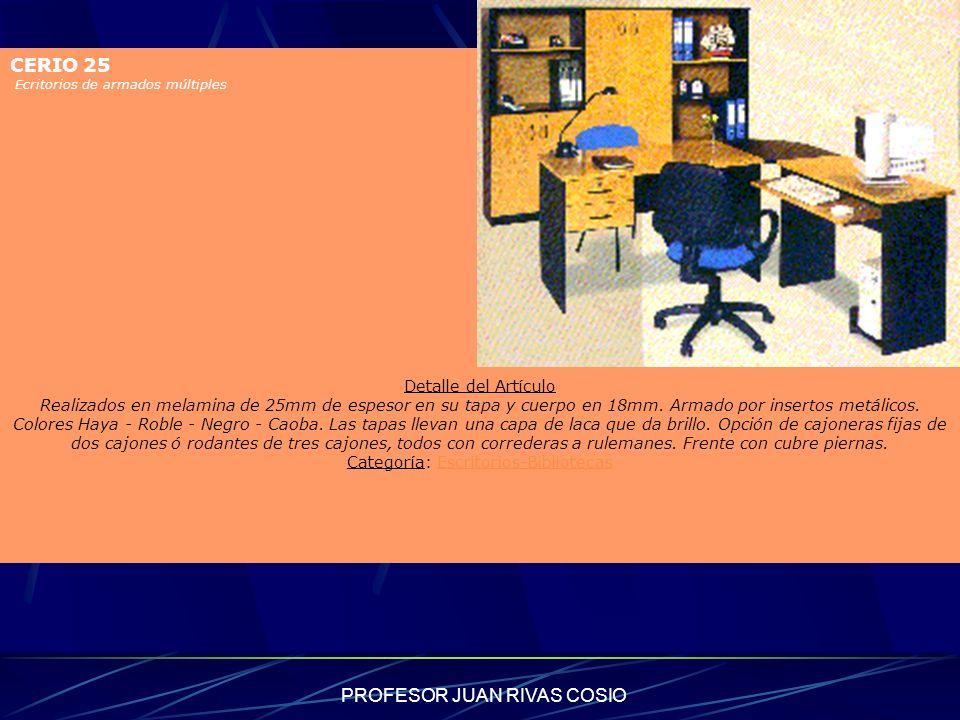 PROFESOR JUAN RIVAS COSIO CERIO 25 Ecritorios de armados múltiples Detalle del Artículo Realizados en melamina de 25mm de espesor en su tapa y cuerpo