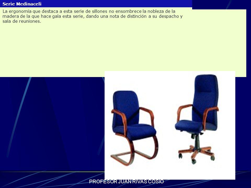 PROFESOR JUAN RIVAS COSIO Serie Medinaceli La ergonomía que destaca a esta serie de sillones no ensombrece la nobleza de la madera de la que hace gala