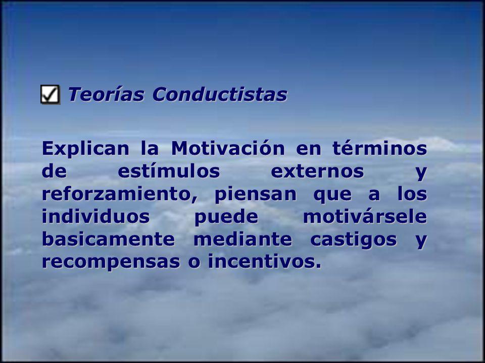 Teorías Conductistas Teorías Conductistas Explican la Motivación en términos de estímulos externos y reforzamiento, piensan que a los individuos puede motivársele basicamente mediante castigos y recompensas o incentivos.