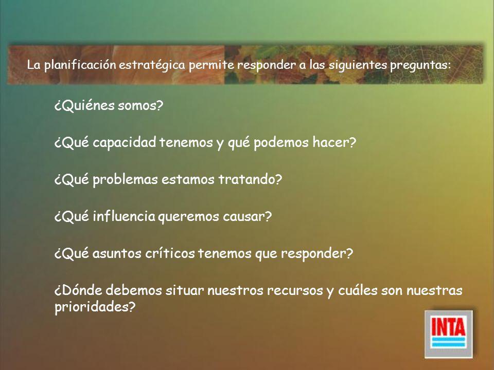 Una vez que se han contestado estas preguntas, es posible contestar a lo siguiente: ¿Cuál debería ser nuestro objetivo inmediato.