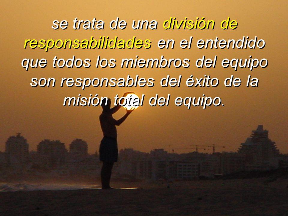 se trata de una división de responsabilidades en el entendido que todos los miembros del equipo son responsables del éxito de la misión total del equi