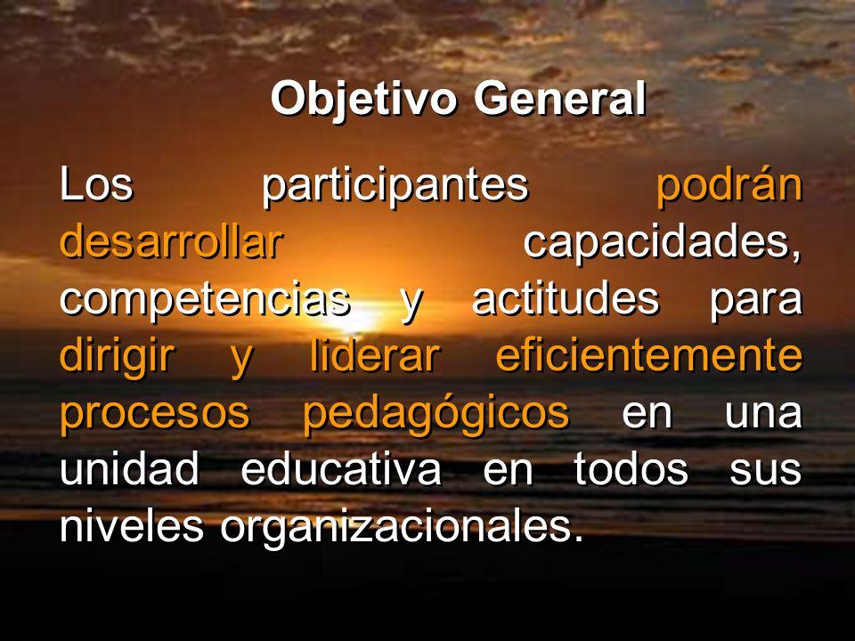 Objetivo General Los participantes podrán desarrollar capacidades, competencias y actitudes para dirigir y liderar eficientemente procesos pedagógicos