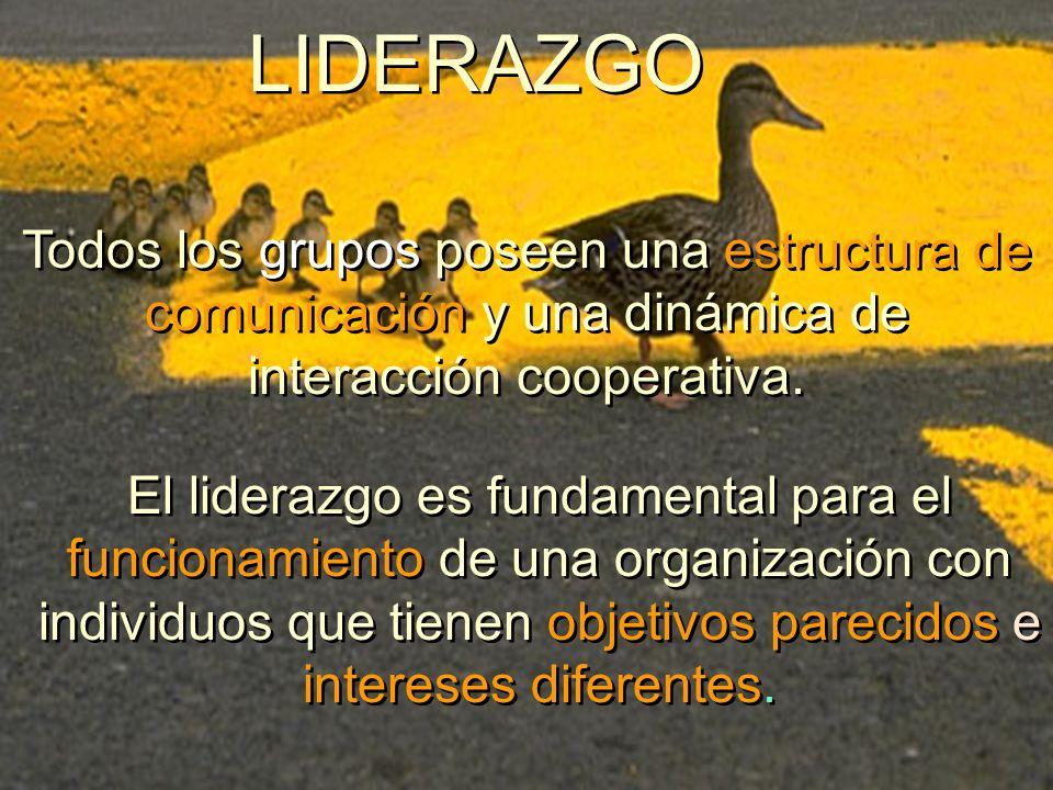 LIDERAZGO Todos los grupos poseen una estructura de comunicación y una dinámica de interacción cooperativa. El liderazgo es fundamental para el funcio