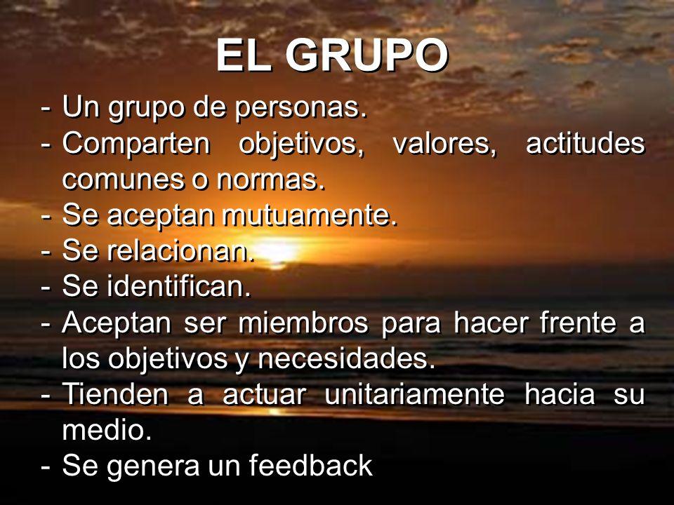 EL GRUPO -Un grupo de personas. -Comparten objetivos, valores, actitudes comunes o normas. -Se aceptan mutuamente. -Se relacionan. -Se identifican. -A