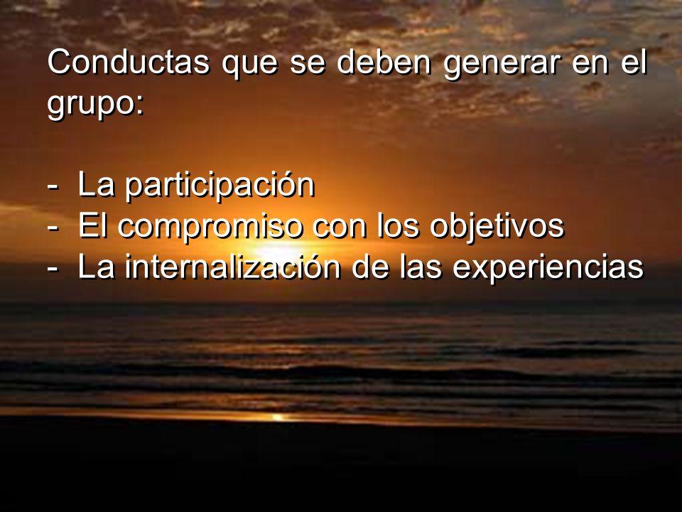 Conductas que se deben generar en el grupo: - La participación - El compromiso con los objetivos - La internalización de las experiencias Conductas qu
