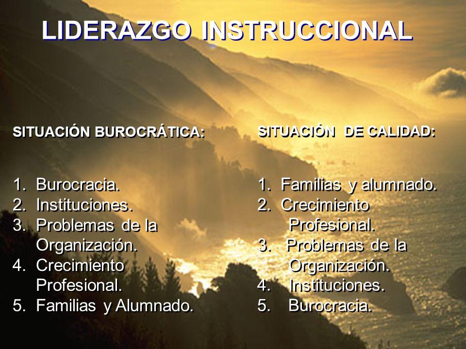 SITUACIÓN BUROCRÁTICA: 1. Burocracia. 2. Instituciones. 3. Problemas de la Organización. 4. Crecimiento Profesional. 5. Familias y Alumnado. SITUACIÓN