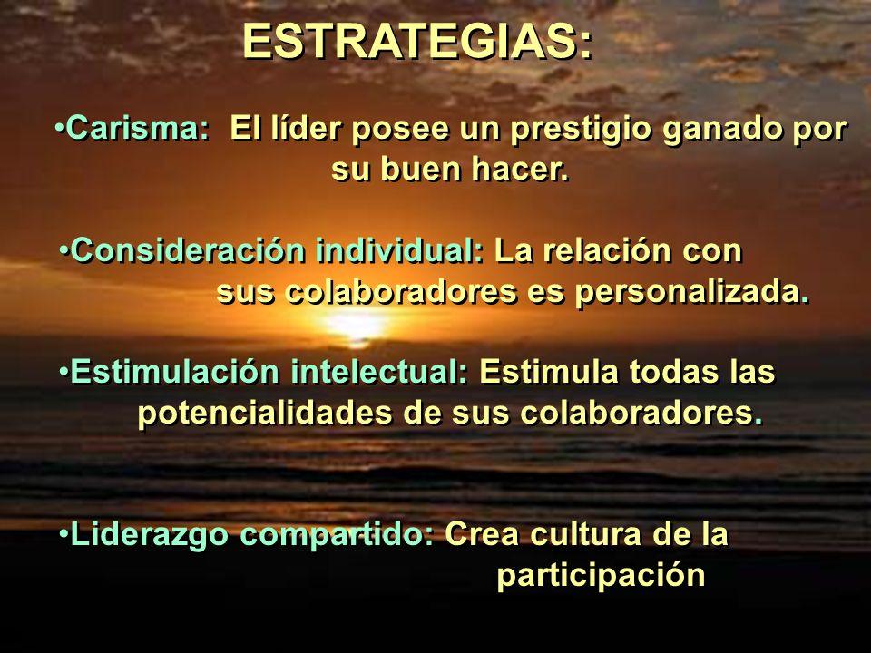 ESTRATEGIAS: Carisma: El líder posee un prestigio ganado por su buen hacer. Consideración individual: La relación con sus colaboradores es personaliza