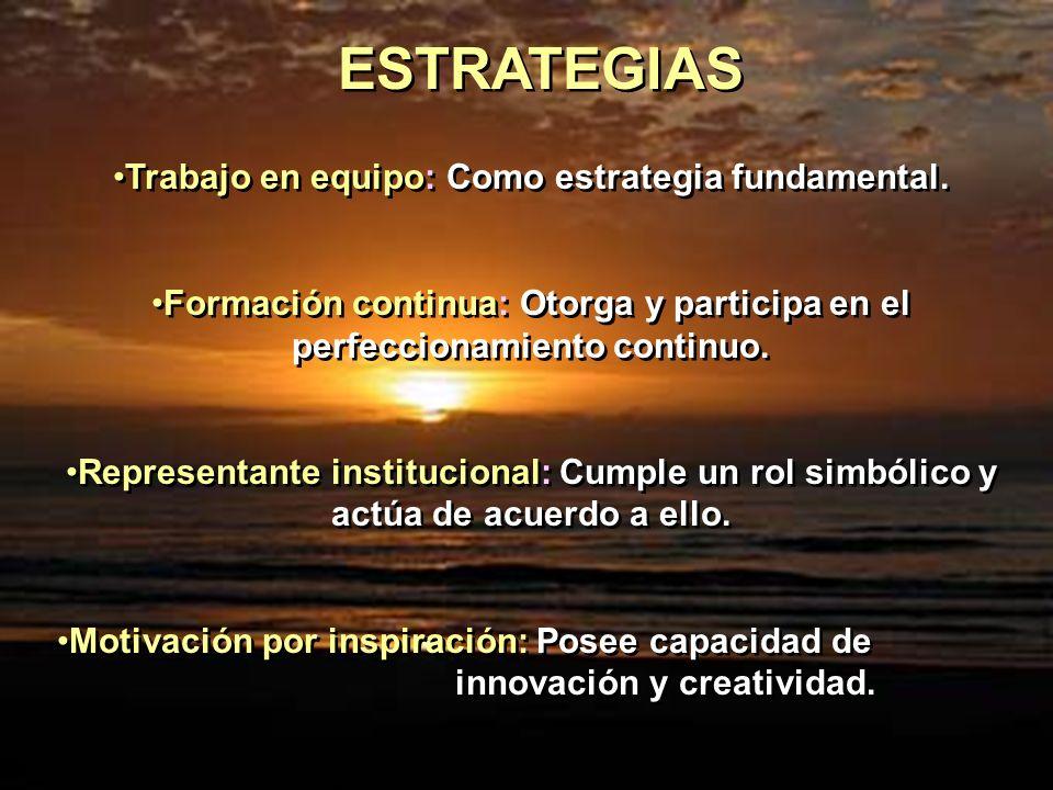 Trabajo en equipo: Como estrategia fundamental. Formación continua: Otorga y participa en el perfeccionamiento continuo. Representante institucional: