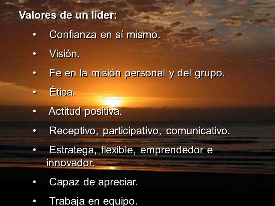 Valores de un líder: Confianza en sí mismo. Visión. Fe en la misión personal y del grupo. Ética. Actitud positiva. Receptivo, participativo, comunicat