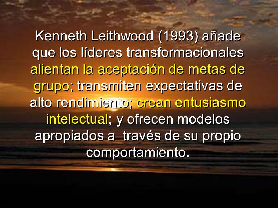 Kenneth Leithwood (1993) añade que los líderes transformacionales alientan la aceptación de metas de grupo; transmiten expectativas de alto rendimient