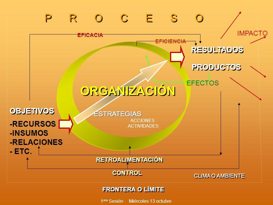 ORGANIZACIÓN -RECURSOS -INSUMOS -RELACIONES - ETC. RESULTADOS IMPACTO PRODUCTOS FRONTERA O LÍMITE RETROALIMENTACIÓN CONTROL OBJETIVOS P R O C E S O EF
