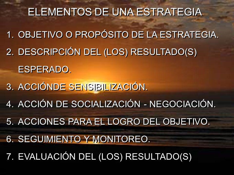 ELEMENTOS DE UNA ESTRATEGIA 1.OBJETIVO O PROPÓSITO DE LA ESTRATEGIA. 2.DESCRIPCIÓN DEL (LOS) RESULTADO(S) ESPERADO. 3.ACCIÓNDE SENSIBILIZACIÓN. 4.ACCI