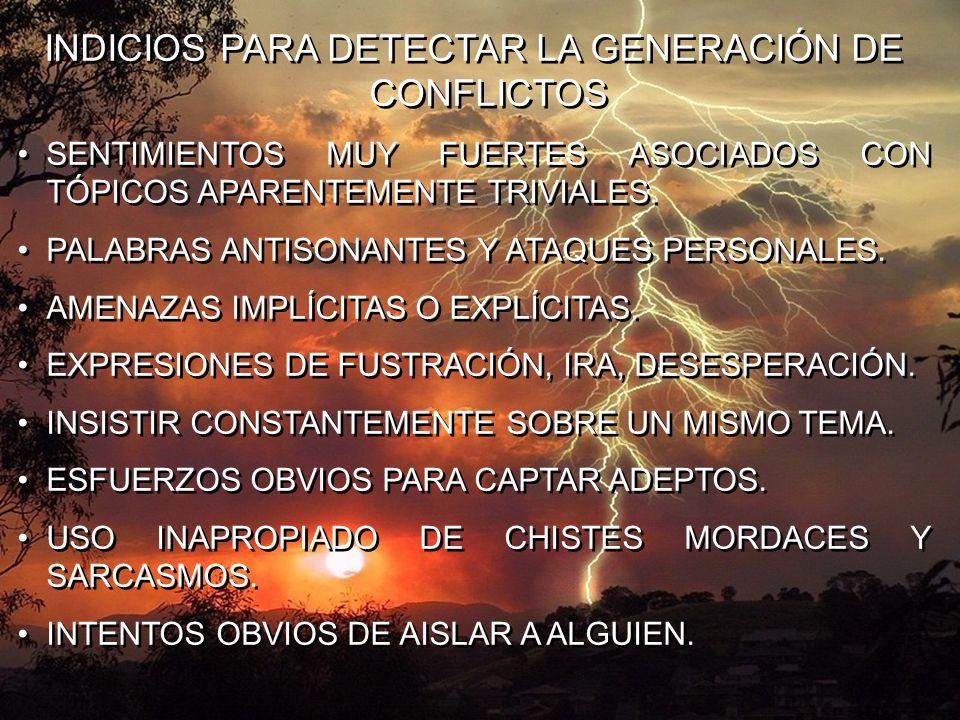 INDICIOS PARA DETECTAR LA GENERACIÓN DE CONFLICTOS SENTIMIENTOS MUY FUERTES ASOCIADOS CON TÓPICOS APARENTEMENTE TRIVIALES. PALABRAS ANTISONANTES Y ATA