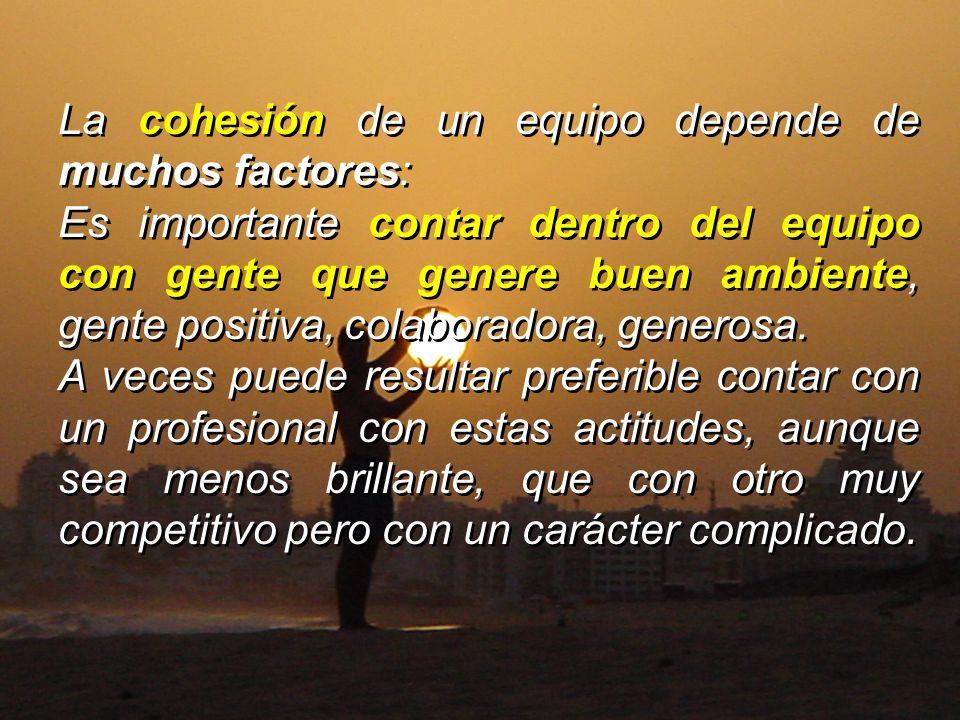 La cohesión de un equipo depende de muchos factores: Es importante contar dentro del equipo con gente que genere buen ambiente, gente positiva, colabo