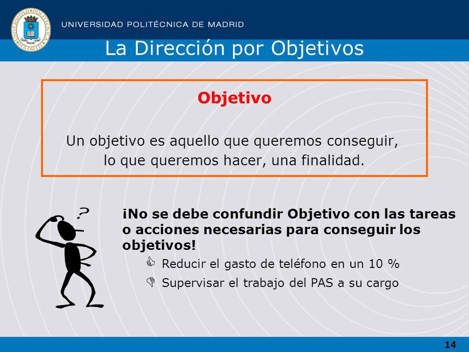14 Objetivo Un objetivo es aquello que queremos conseguir, lo que queremos hacer, una finalidad. ¡No se debe confundir Objetivo con las tareas o accio