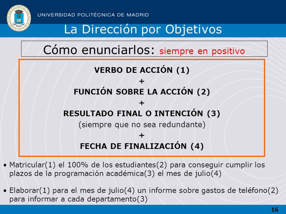 16 VERBO DE ACCIÓN (1) + FUNCIÓN SOBRE LA ACCIÓN (2) + RESULTADO FINAL O INTENCIÓN (3) (siempre que no sea redundante) + FECHA DE FINALIZACIÓN (4) Mat