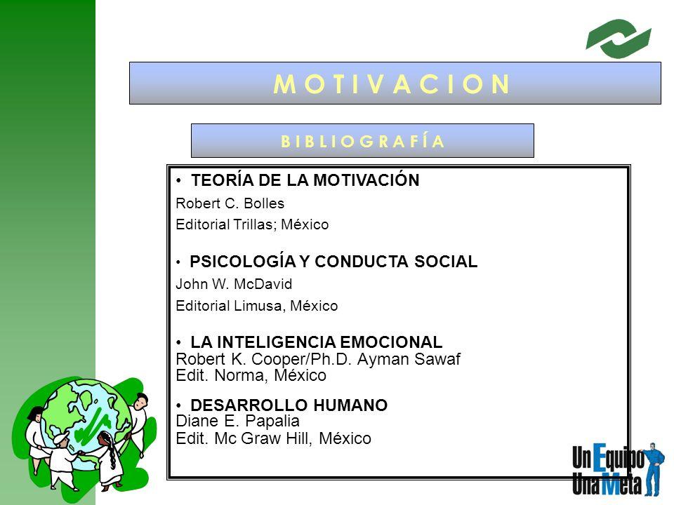 M O T I V A C I O N B I B L I O G R A F Í A TEORÍA DE LA MOTIVACIÓN Robert C. Bolles Editorial Trillas; México PSICOLOGÍA Y CONDUCTA SOCIAL John W. Mc