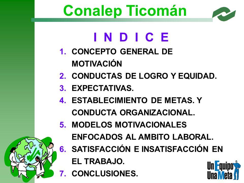 PROGRAMA DE CAPACITACION I N D I C E 1. 1.CONCEPTO GENERAL DE MOTIVACIÓN 2. 2.CONDUCTAS DE LOGRO Y EQUIDAD. 3. 3.EXPECTATIVAS. 4. 4.ESTABLECIMIENTO DE