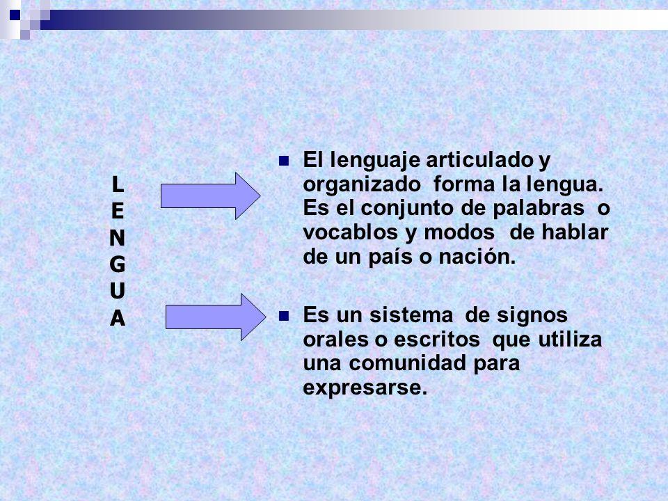 El lenguaje articulado y organizado forma la lengua. Es el conjunto de palabras o vocablos y modos de hablar de un país o nación. Es un sistema de sig