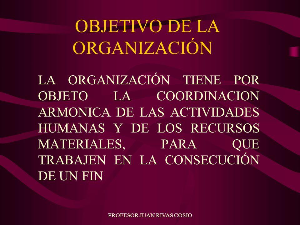 PROFESOR JUAN RIVAS COSIO OBJETIVO DE LA ORGANIZACIÓN LA ORGANIZACIÓN TIENE POR OBJETO LA COORDINACION ARMONICA DE LAS ACTIVIDADES HUMANAS Y DE LOS RE