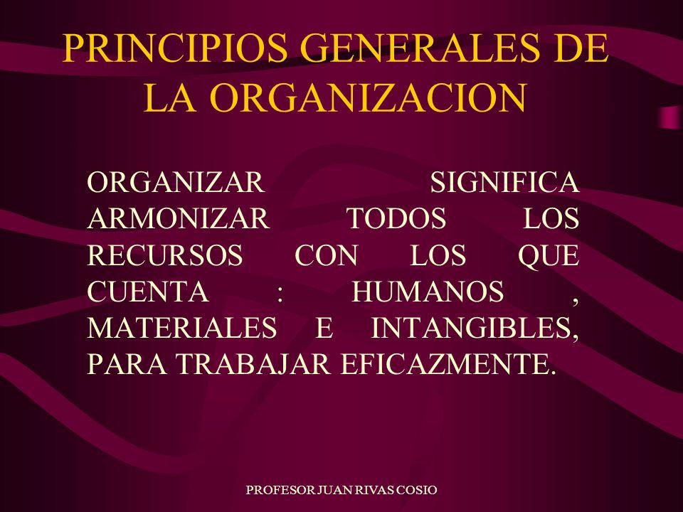 PROFESOR JUAN RIVAS COSIO PRINCIPIOS GENERALES DE LA ORGANIZACION ORGANIZAR SIGNIFICA ARMONIZAR TODOS LOS RECURSOS CON LOS QUE CUENTA : HUMANOS, MATER