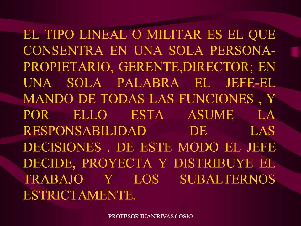 PROFESOR JUAN RIVAS COSIO EL TIPO LINEAL O MILITAR ES EL QUE CONSENTRA EN UNA SOLA PERSONA- PROPIETARIO, GERENTE,DIRECTOR; EN UNA SOLA PALABRA EL JEFE