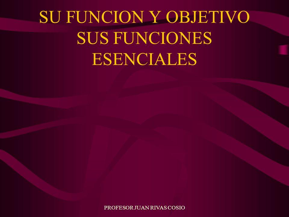 PROFESOR JUAN RIVAS COSIO SU FUNCION Y OBJETIVO SUS FUNCIONES ESENCIALES