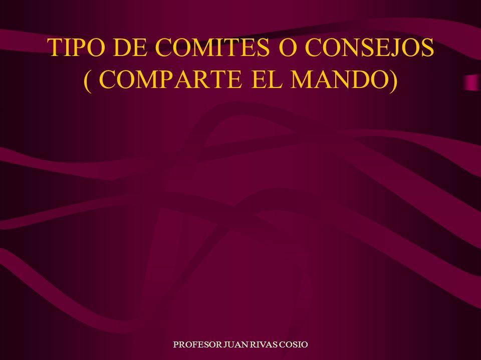 PROFESOR JUAN RIVAS COSIO TIPO DE COMITES O CONSEJOS ( COMPARTE EL MANDO)