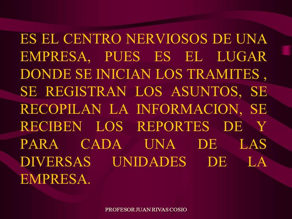 PROFESOR JUAN RIVAS COSIO ES EL CENTRO NERVIOSOS DE UNA EMPRESA, PUES ES EL LUGAR DONDE SE INICIAN LOS TRAMITES, SE REGISTRAN LOS ASUNTOS, SE RECOPILA
