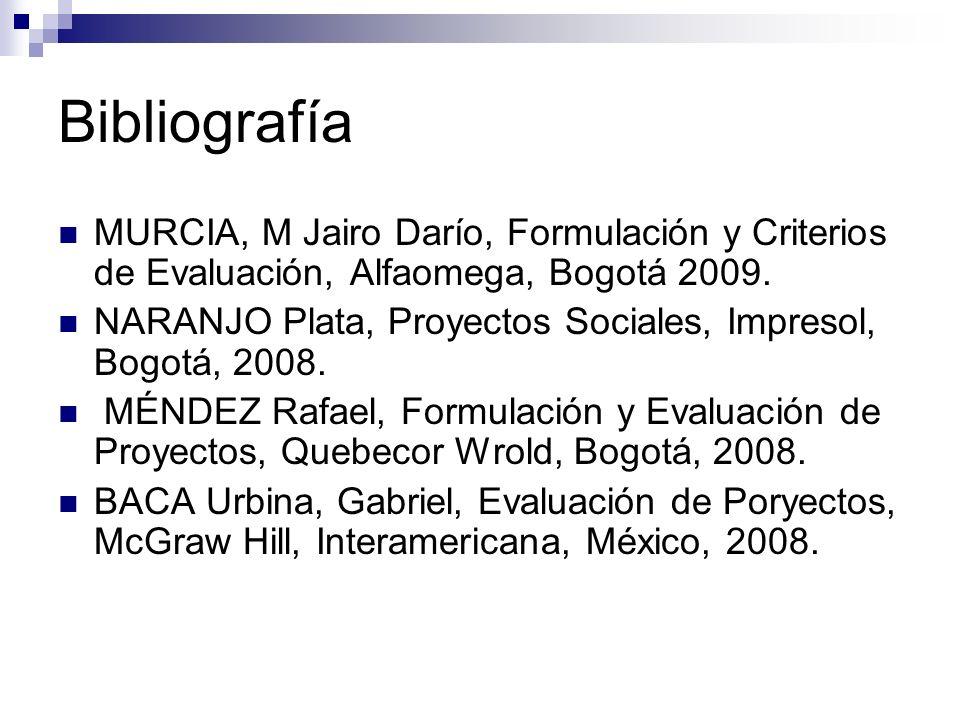 Bibliografía MURCIA, M Jairo Darío, Formulación y Criterios de Evaluación, Alfaomega, Bogotá 2009. NARANJO Plata, Proyectos Sociales, Impresol, Bogotá